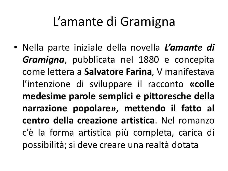 Nella parte iniziale della novella Lamante di Gramigna, pubblicata nel 1880 e concepita come lettera a Salvatore Farina, V manifestava lintenzione di
