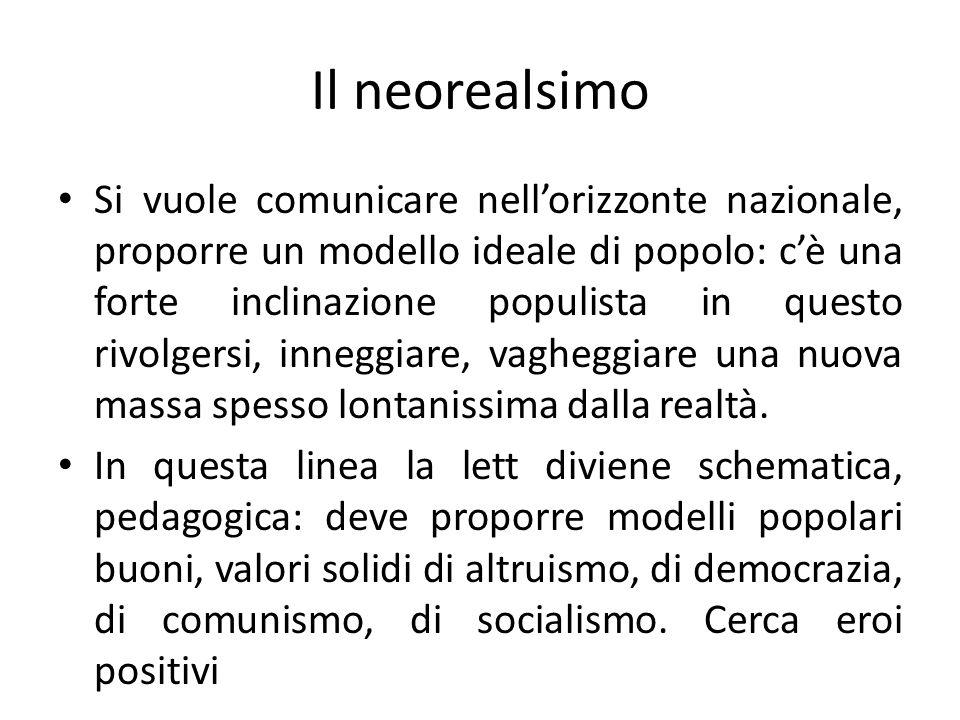 Il neorealsimo Si vuole comunicare nellorizzonte nazionale, proporre un modello ideale di popolo: cè una forte inclinazione populista in questo rivolg