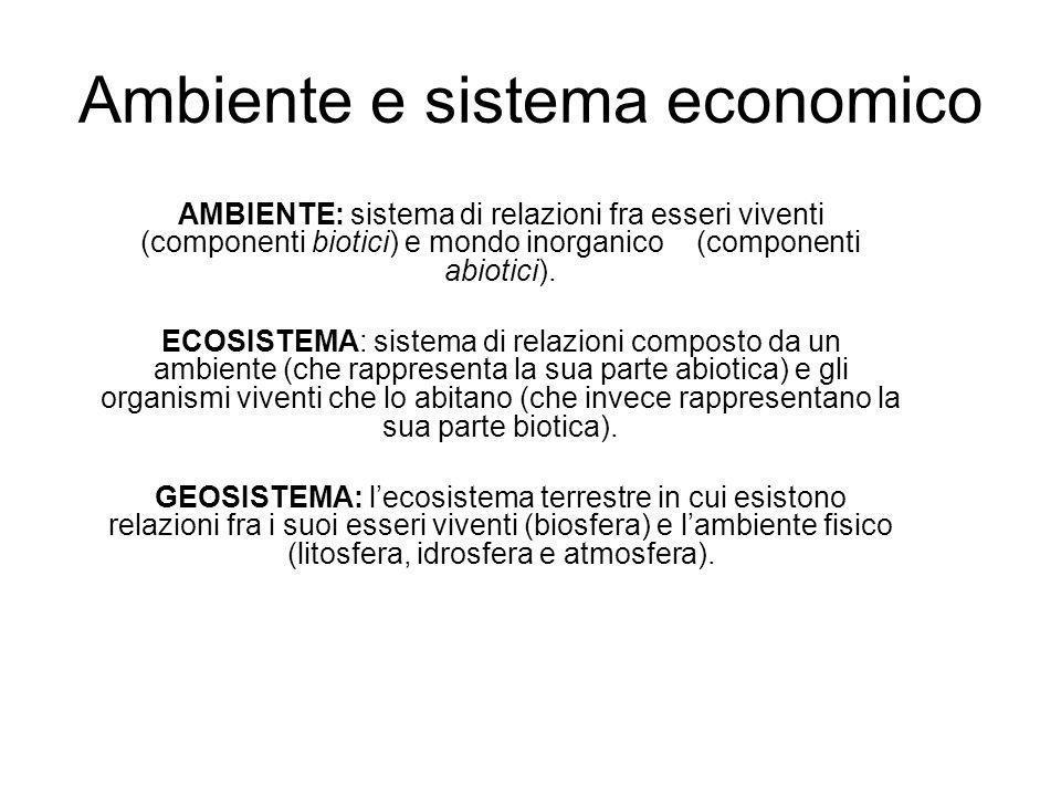 Ambiente e sistema economico AMBIENTE: sistema di relazioni fra esseri viventi (componenti biotici) e mondo inorganico (componenti abiotici). ECOSISTE