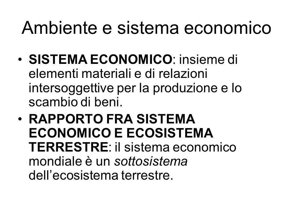Ambiente e sistema economico SISTEMA ECONOMICO: insieme di elementi materiali e di relazioni intersoggettive per la produzione e lo scambio di beni. R