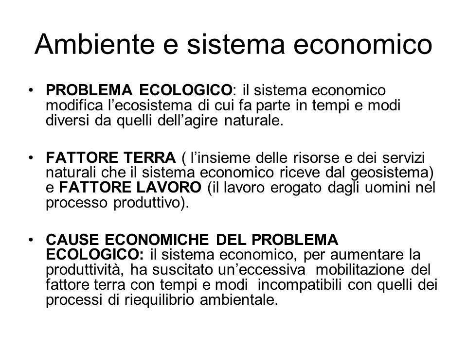 Ambiente e sistema economico PROBLEMA ECOLOGICO: il sistema economico modifica lecosistema di cui fa parte in tempi e modi diversi da quelli dellagire