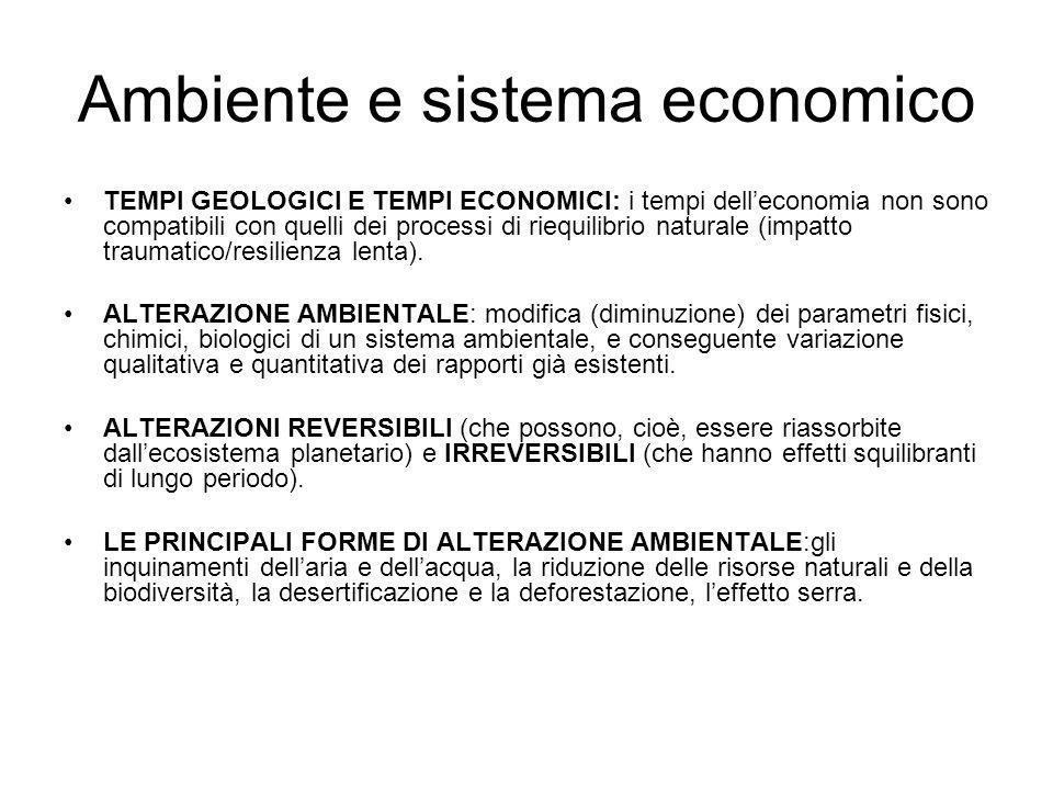 Ambiente e sistema economico TEMPI GEOLOGICI E TEMPI ECONOMICI: i tempi delleconomia non sono compatibili con quelli dei processi di riequilibrio natu