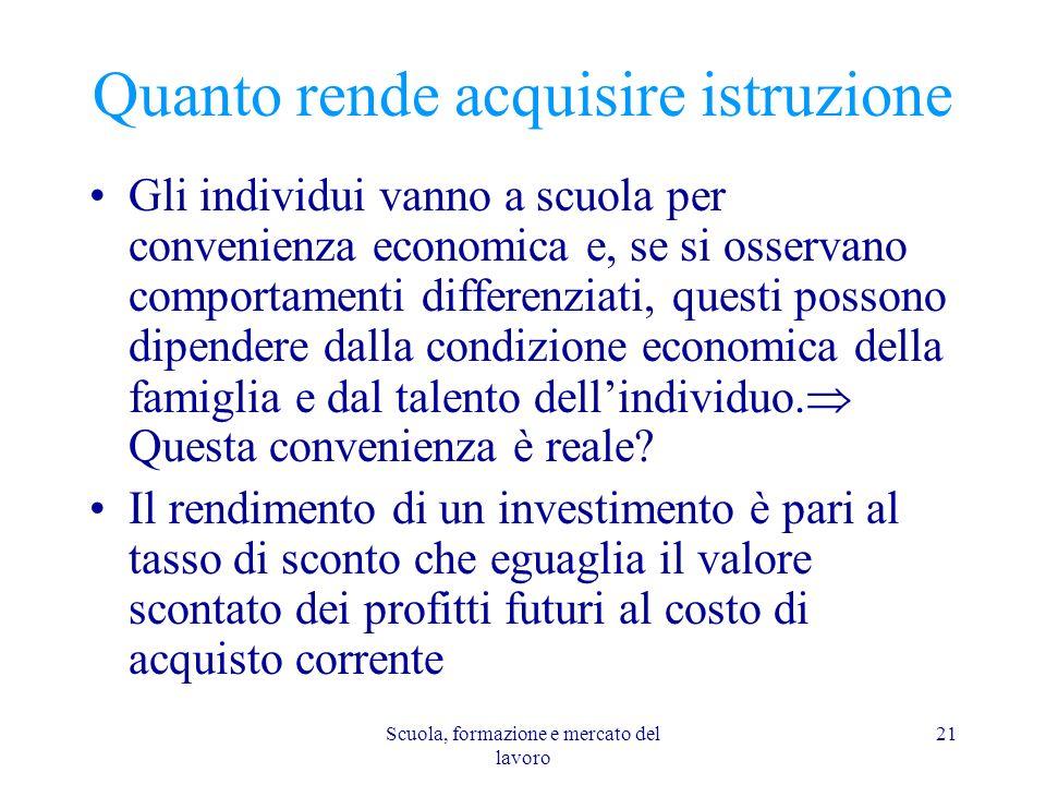 Scuola, formazione e mercato del lavoro 21 Quanto rende acquisire istruzione Gli individui vanno a scuola per convenienza economica e, se si osservano