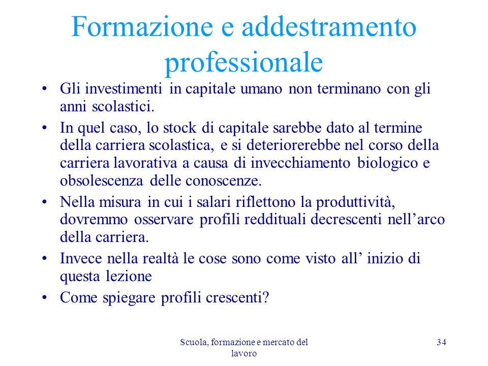 Scuola, formazione e mercato del lavoro 34 Formazione e addestramento professionale Gli investimenti in capitale umano non terminano con gli anni scol