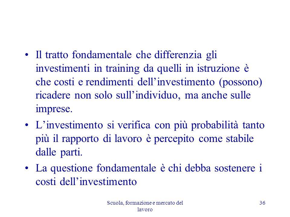 Scuola, formazione e mercato del lavoro 36 Il tratto fondamentale che differenzia gli investimenti in training da quelli in istruzione è che costi e r
