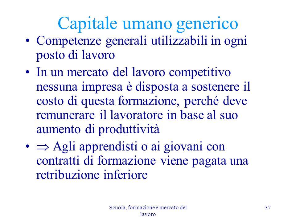Scuola, formazione e mercato del lavoro 37 Capitale umano generico Competenze generali utilizzabili in ogni posto di lavoro In un mercato del lavoro c