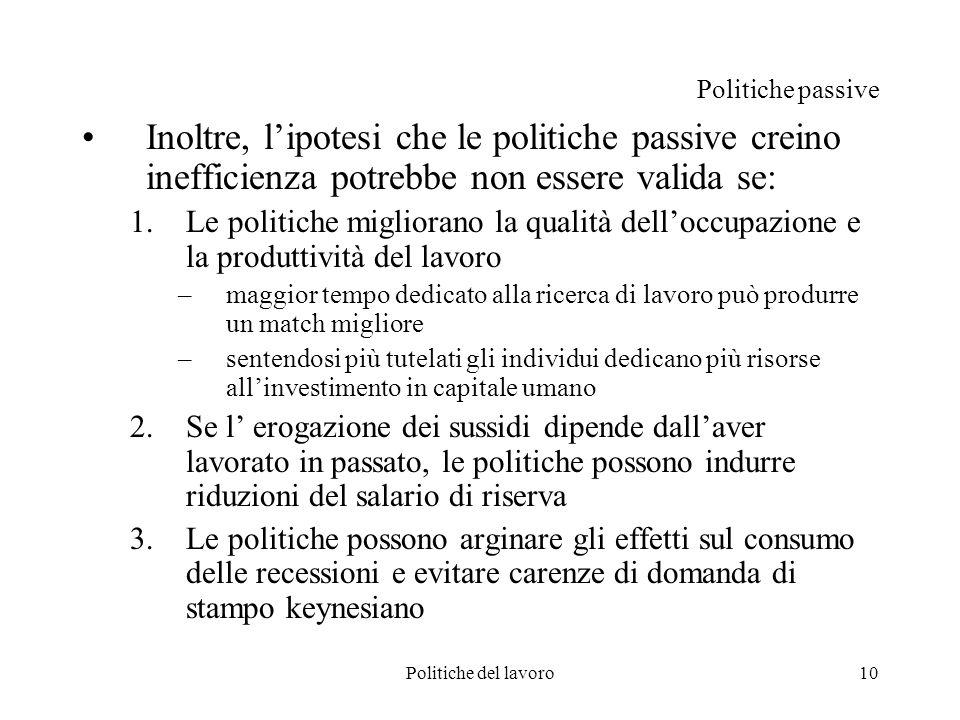 Politiche del lavoro10 Politiche passive Inoltre, lipotesi che le politiche passive creino inefficienza potrebbe non essere valida se: 1.Le politiche
