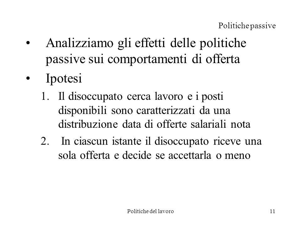Politiche del lavoro11 Politiche passive Analizziamo gli effetti delle politiche passive sui comportamenti di offerta Ipotesi 1.Il disoccupato cerca l