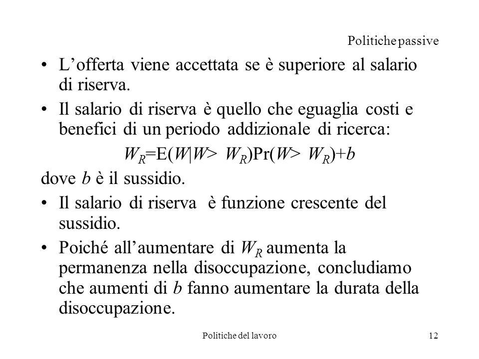 Politiche del lavoro12 Politiche passive Lofferta viene accettata se è superiore al salario di riserva. Il salario di riserva è quello che eguaglia co