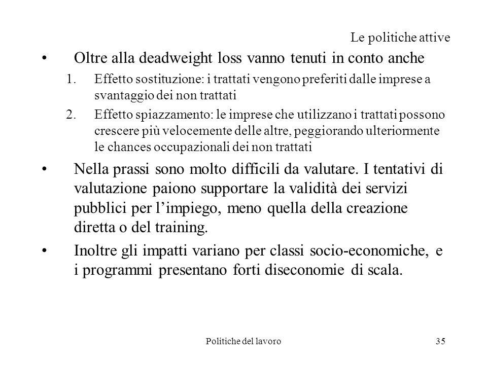 Politiche del lavoro35 Le politiche attive Oltre alla deadweight loss vanno tenuti in conto anche 1.Effetto sostituzione: i trattati vengono preferiti