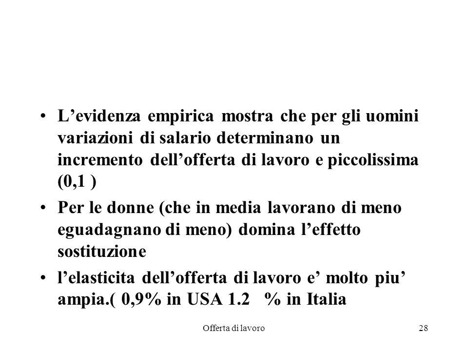 Offerta di lavoro28 Levidenza empirica mostra che per gli uomini variazioni di salario determinano un incremento dellofferta di lavoro e piccolissima (0,1 ) Per le donne (che in media lavorano di meno eguadagnano di meno) domina leffetto sostituzione lelasticita dellofferta di lavoro e molto piu ampia.( 0,9% in USA 1.2 % in Italia