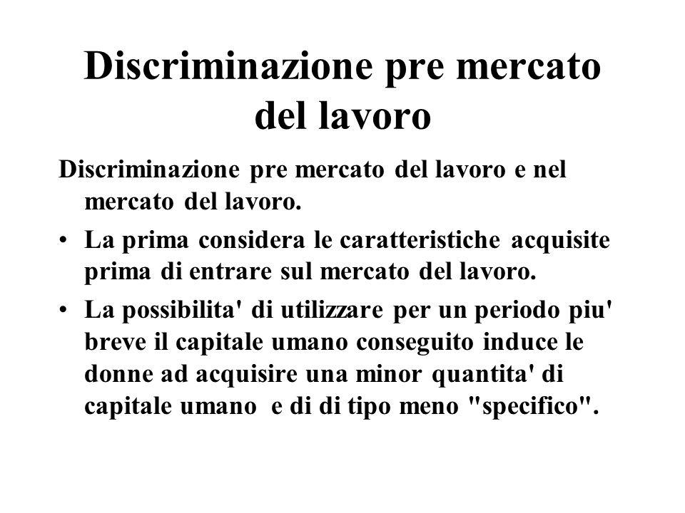Discriminazione pre mercato del lavoro Discriminazione pre mercato del lavoro e nel mercato del lavoro.