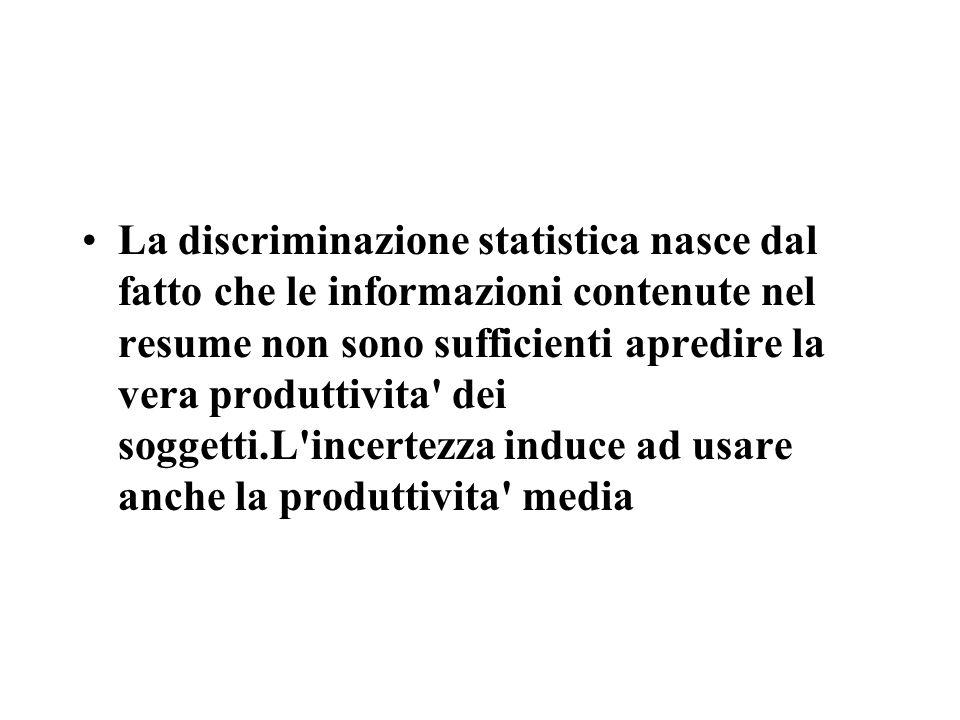 La discriminazione statistica nasce dal fatto che le informazioni contenute nel resume non sono sufficienti apredire la vera produttivita dei soggetti.L incertezza induce ad usare anche la produttivita media