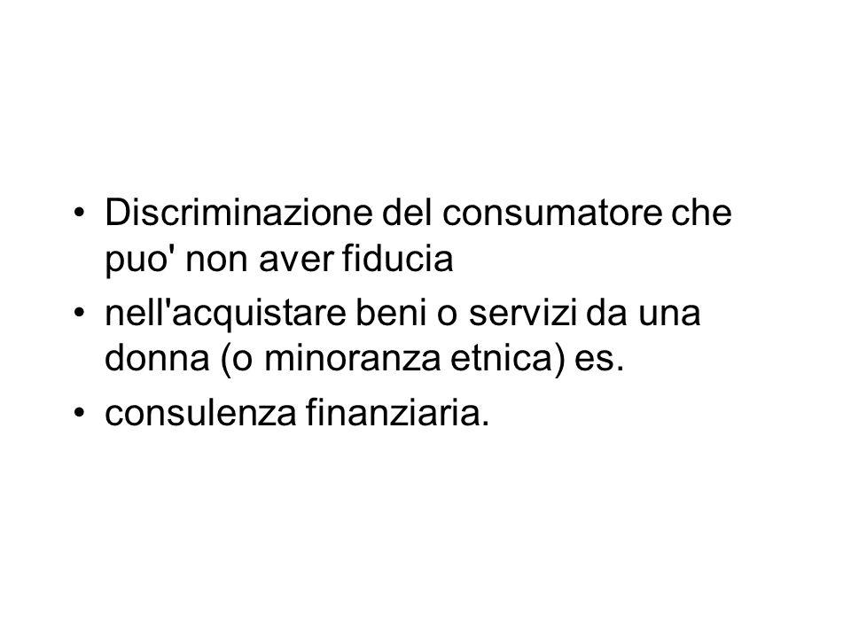 Discriminazione del consumatore che puo non aver fiducia nell acquistare beni o servizi da una donna (o minoranza etnica) es.