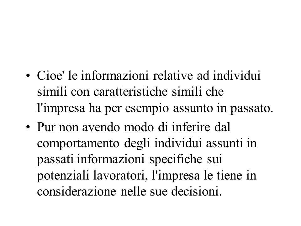Cioe le informazioni relative ad individui simili con caratteristiche simili che l impresa ha per esempio assunto in passato.