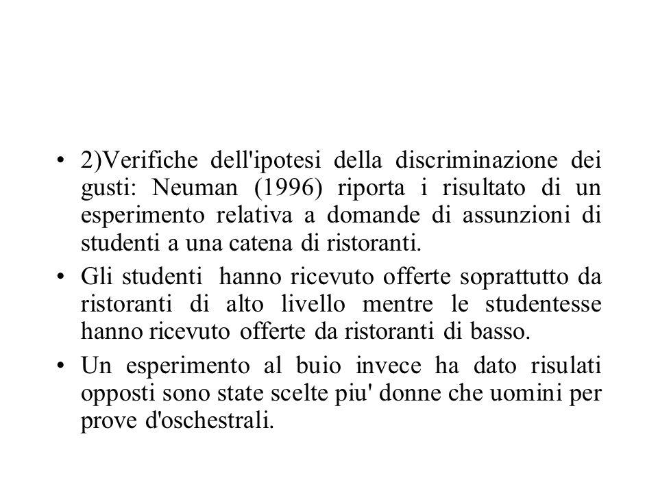 2)Verifiche dell ipotesi della discriminazione dei gusti: Neuman (1996) riporta i risultato di un esperimento relativa a domande di assunzioni di studenti a una catena di ristoranti.