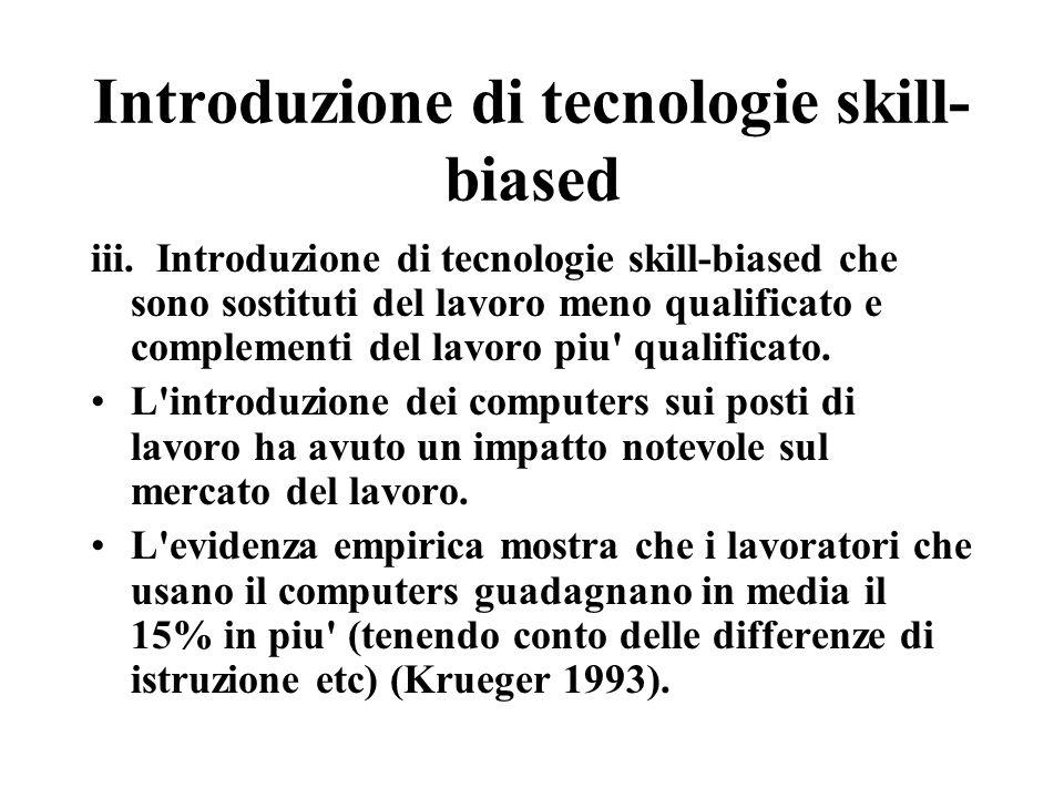 Introduzione di tecnologie skill- biased iii.