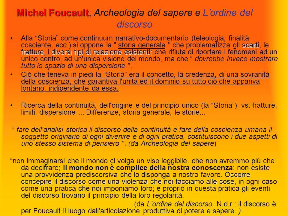 Michel Foucault Michel Foucault, Archeologia del sapere e Lordine del discorso scarti fratturediversi tipi di relazione esistenti;Alla Storia come con