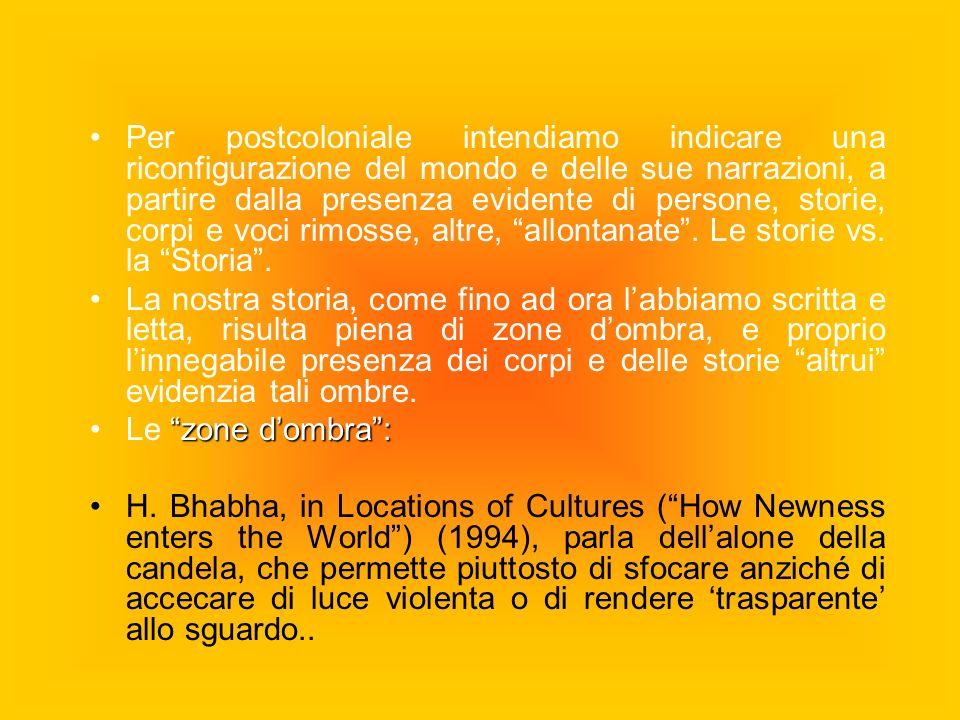 Per postcoloniale intendiamo indicare una riconfigurazione del mondo e delle sue narrazioni, a partire dalla presenza evidente di persone, storie, cor