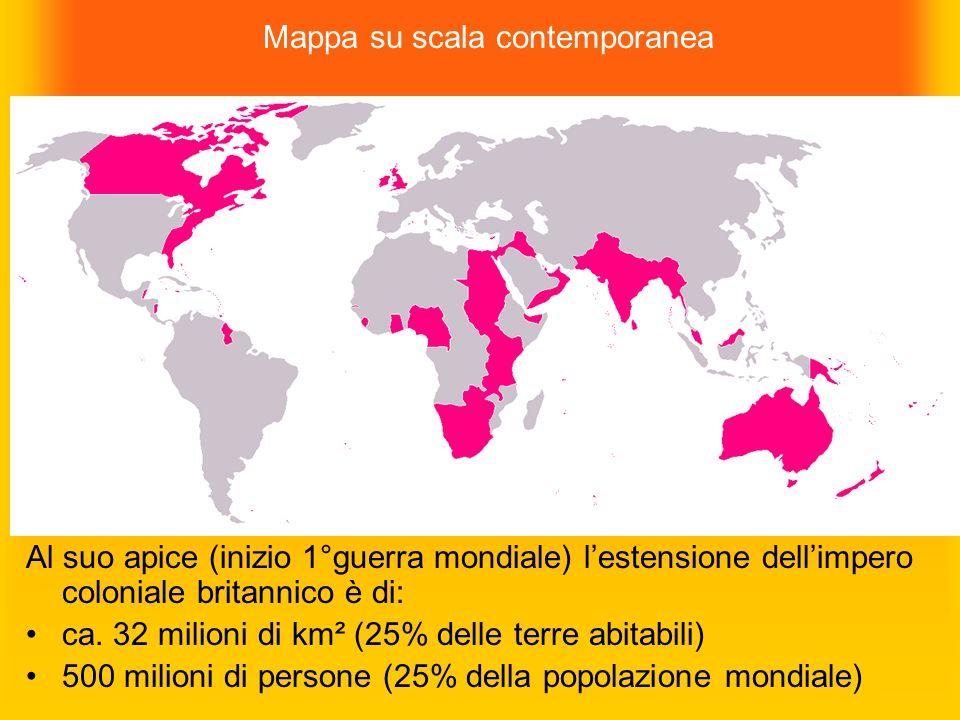 Mappa su scala contemporanea Al suo apice (inizio 1°guerra mondiale) lestensione dellimpero coloniale britannico è di: ca. 32 milioni di km² (25% dell