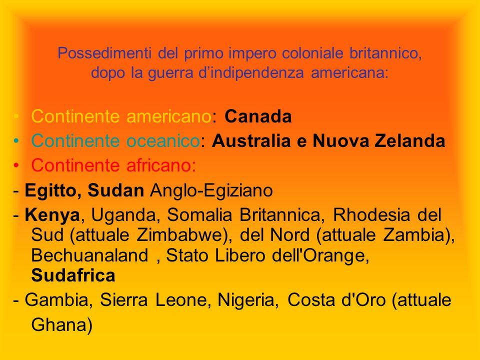 Possedimenti del primo impero coloniale britannico, dopo la guerra dindipendenza americana: Continente americano: Canada Continente oceanico: Australi