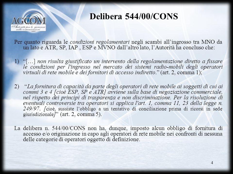5 Il Nuovo quadro regolamentare Con il nuovo quadro regolamentare comunitario per le comunicazioni elettroniche del 2002, è stato identificato come potenzialmente suscettibile di applicazione di misure regolamentari il mercato allingrosso dellaccesso e raccolta delle chiamate (mercato 15).