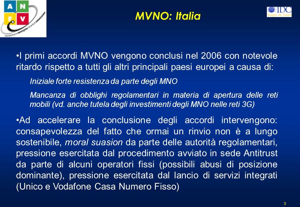 MVNO: Italia 3 I primi accordi MVNO vengono conclusi nel 2006 con notevole ritardo rispetto a tutti gli altri principali paesi europei a causa di: Iniziale forte resistenza da parte degli MNO Mancanza di obblighi regolamentari in materia di apertura delle reti mobili (vd.