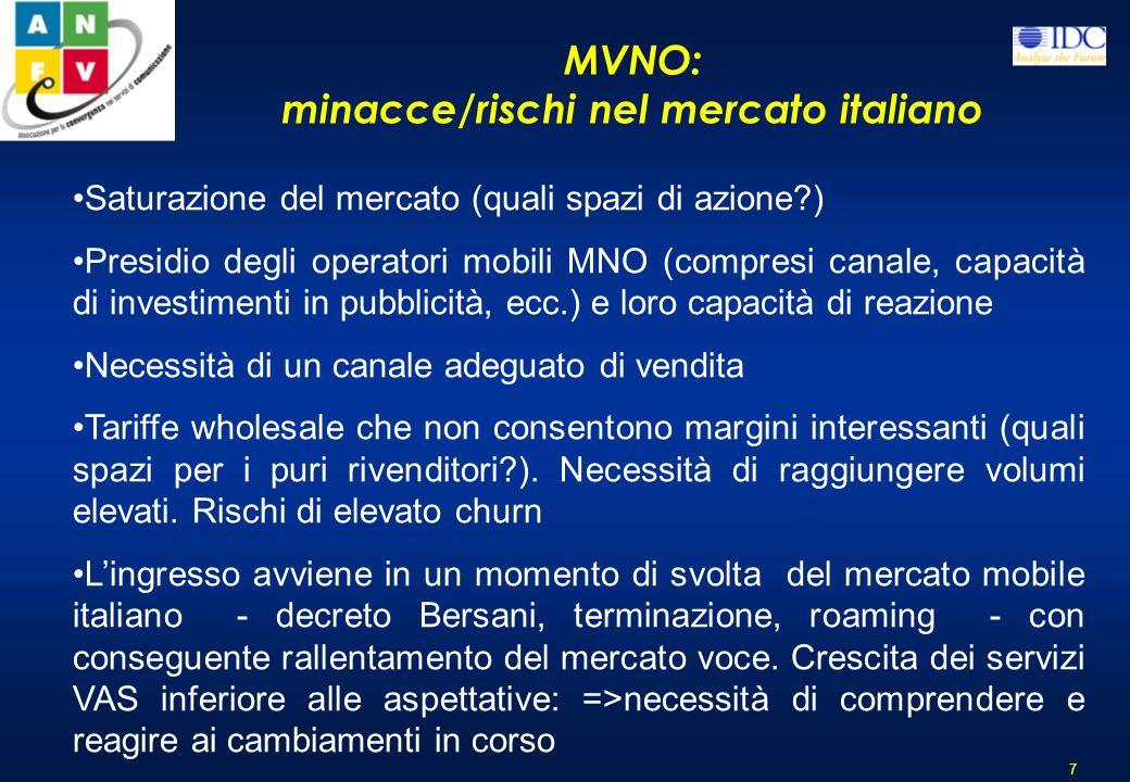 MVNO: principali caratteristiche del servizio in Italia 6 Ad oggi non sono attivi sul mercato italiano veri e propri esempi di MVNO (secondo la tradiz