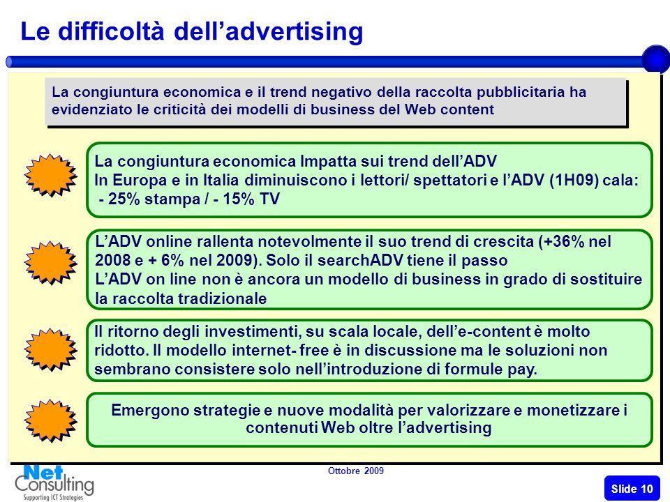 Ottobre 2009 Slide 9 I modelli di business delle-Content Tipologia contenuti Modalità di finanziamento PAY Contenuti a pagamento Video, Musica, Loghi, Games, News specialistiche, ecc.