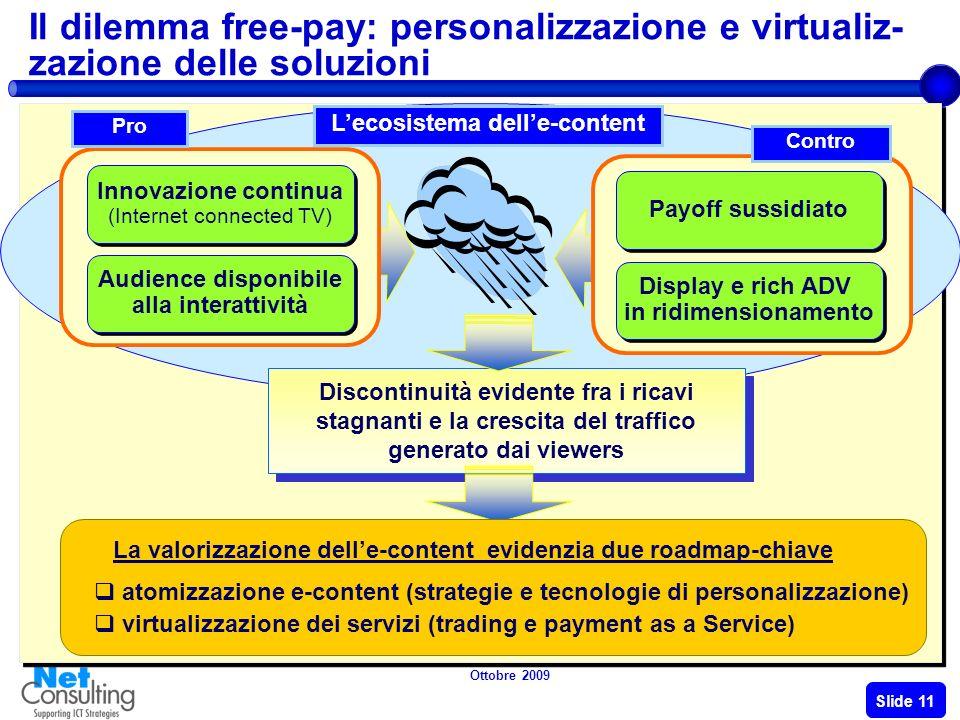 Ottobre 2009 Slide 10 Le difficoltà delladvertising La congiuntura economica Impatta sui trend dellADV In Europa e in Italia diminuiscono i lettori/ spettatori e lADV (1H09) cala: - 25% stampa / - 15% TV Emergono strategie e nuove modalità per valorizzare e monetizzare i contenuti Web oltre ladvertising LADV online rallenta notevolmente il suo trend di crescita (+36% nel 2008 e + 6% nel 2009).