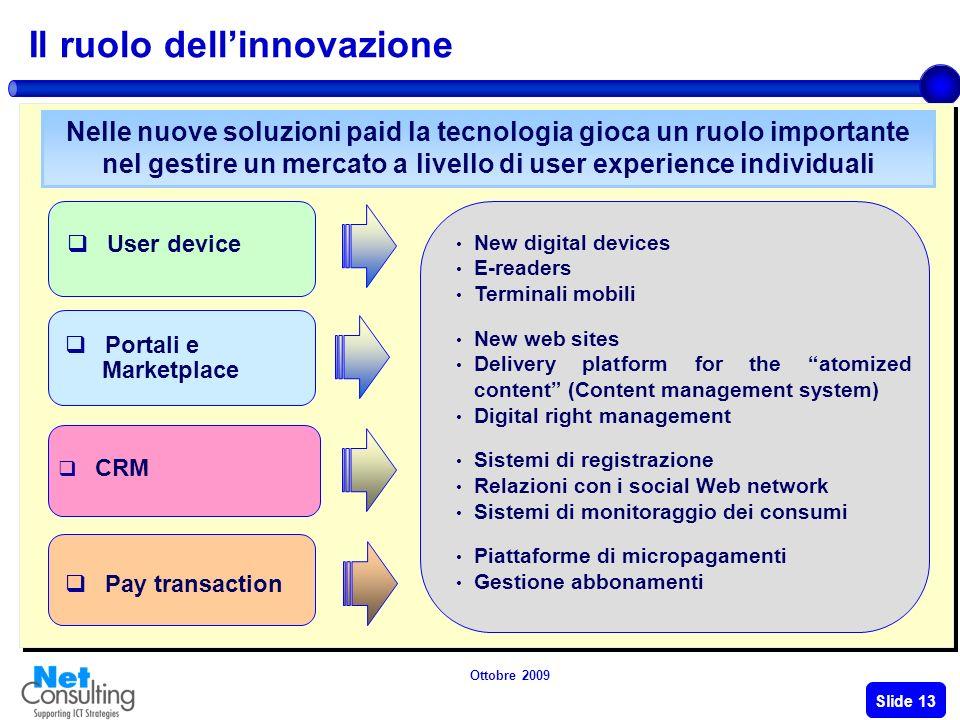 Ottobre 2009 Slide 12 Dal free alla fruizione a pagamento Il dibattito attuale si stà focalizzando sui seguenti fattori critici Quale è il ruolo dellinnovazione .