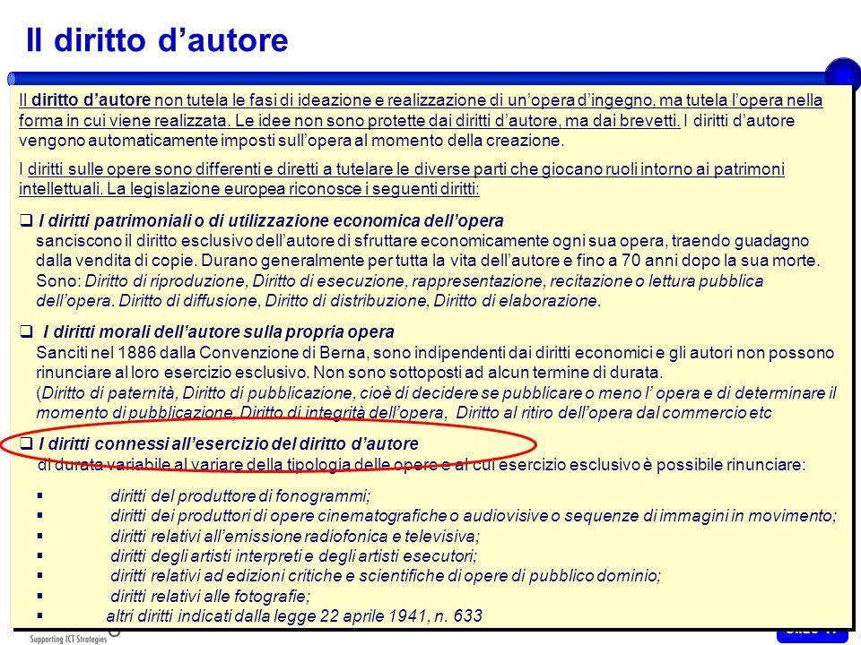 Ottobre 2009 Slide 16 Il diritto dautore