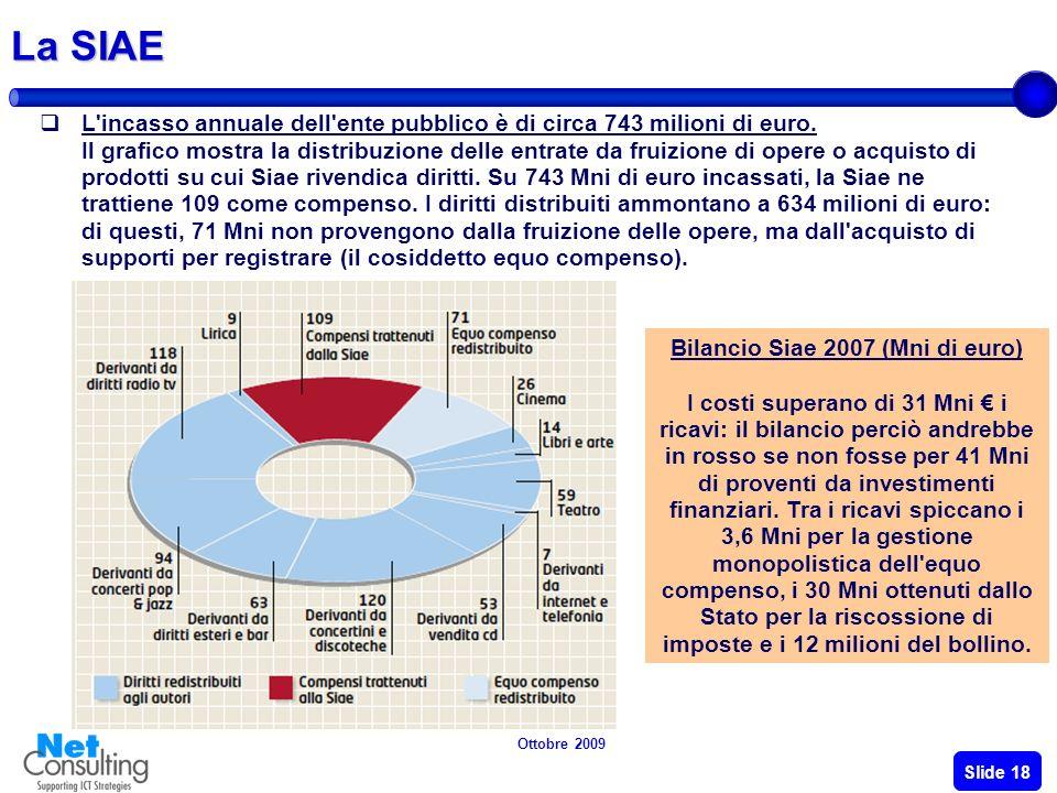 Ottobre 2009 Slide 17 Il diritto dautore Il diritto dautore non tutela le fasi di ideazione e realizzazione di unopera dingegno, ma tutela lopera nell