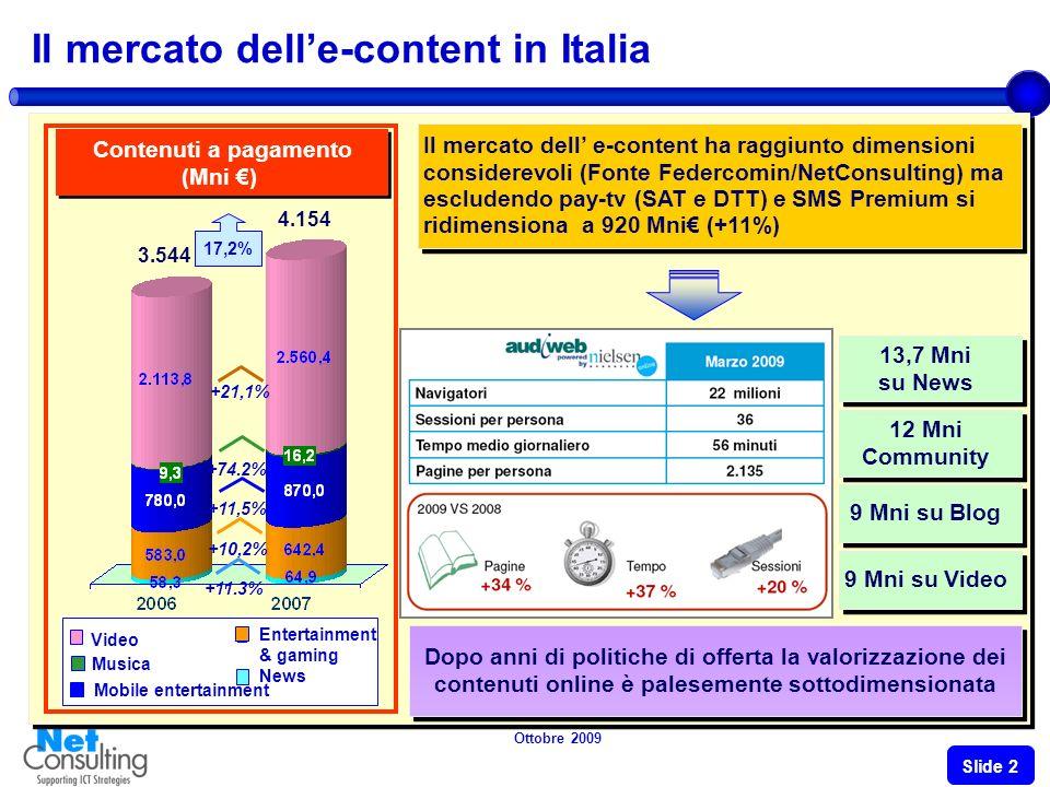 Ottobre 2009 Slide 1 Landamento del mercato e-content