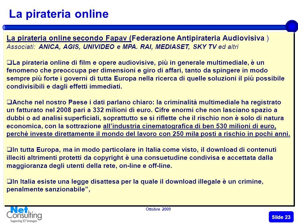 Ottobre 2009 Slide 22 Presso il Ministero per i Beni e le Attività culturali è insediata la Commissione speciale che dovrà rideterminare i compensi sp