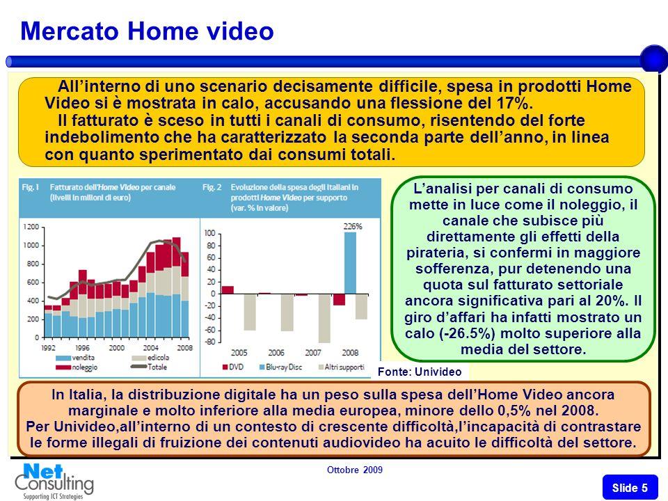 Ottobre 2009 Slide 4 Le previsioni per segmento (2007-2009 E) 52.2% 42% 17.9% 20% 19.9% 18.6% 10.3% 9.4% 17.1% 11.6% 7.4% 5.9% 10.9% 10.4% Valori in Mln e % 21% 23.7% 9.3% 7.5% Fonte: NetConsulting
