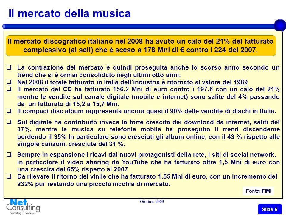 Ottobre 2009 Slide 5 Mercato Home video Fonte: Univideo Allinterno di uno scenario decisamente difficile, spesa in prodotti Home Video si è mostrata in calo, accusando una flessione del 17%.
