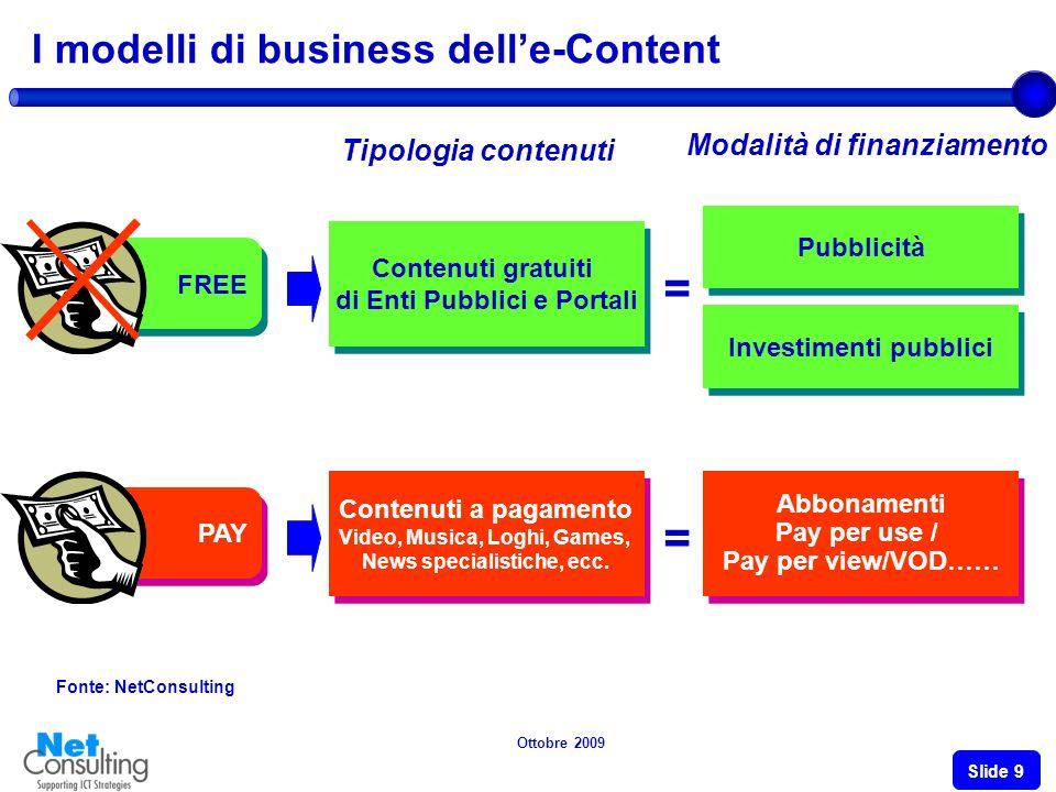 Ottobre 2009 Slide 8 Lundermonitizing del e-content ed il dilemma free/pay