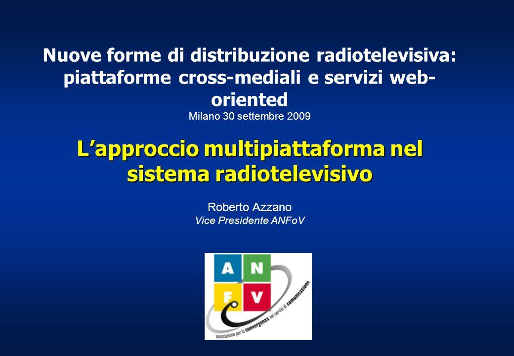 Nuove forme di distribuzione radiotelevisiva: piattaforme cross-mediali e servizi web- oriented Milano 30 settembre 2009 Lapproccio multipiattaforma nel sistema radiotelevisivo Roberto Azzano Vice Presidente ANFoV