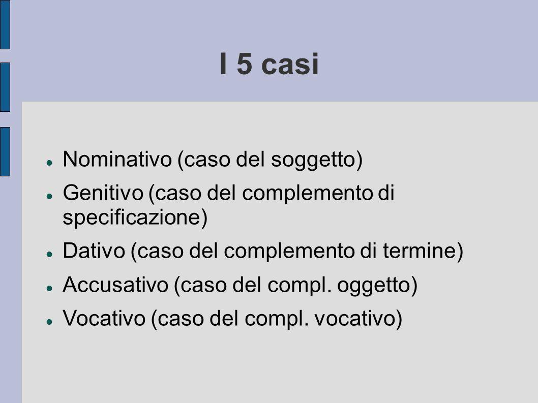 I 5 casi Nominativo (caso del soggetto) Genitivo (caso del complemento di specificazione) Dativo (caso del complemento di termine) Accusativo (caso de