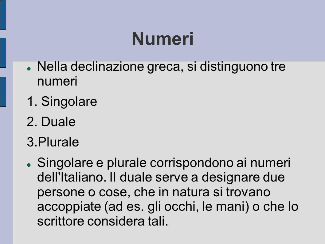 Numeri Nella declinazione greca, si distinguono tre numeri 1. Singolare 2. Duale 3.Plurale Singolare e plurale corrispondono ai numeri dell'Italiano.