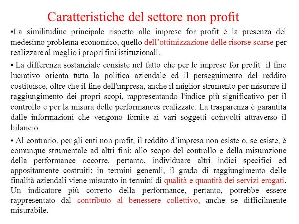 La similitudine principale rispetto alle imprese for profit è la presenza del medesimo problema economico, quello dellottimizzazione delle risorse scarse per realizzare al meglio i propri fini istituzionali.