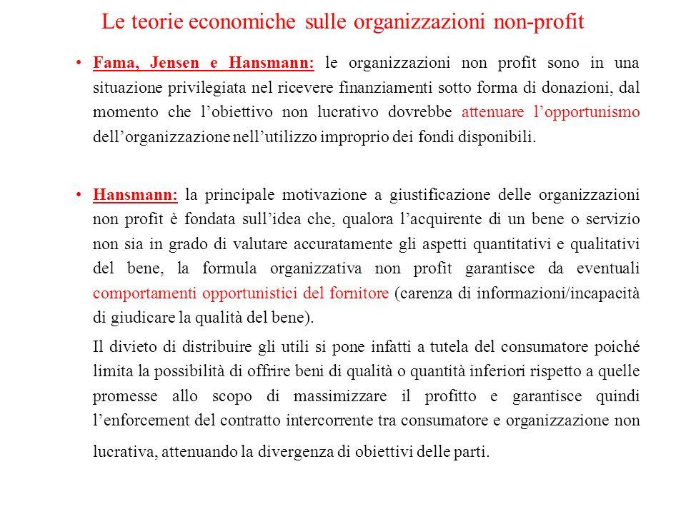 Fama, Jensen e Hansmann: le organizzazioni non profit sono in una situazione privilegiata nel ricevere finanziamenti sotto forma di donazioni, dal momento che lobiettivo non lucrativo dovrebbe attenuare lopportunismo dellorganizzazione nellutilizzo improprio dei fondi disponibili.