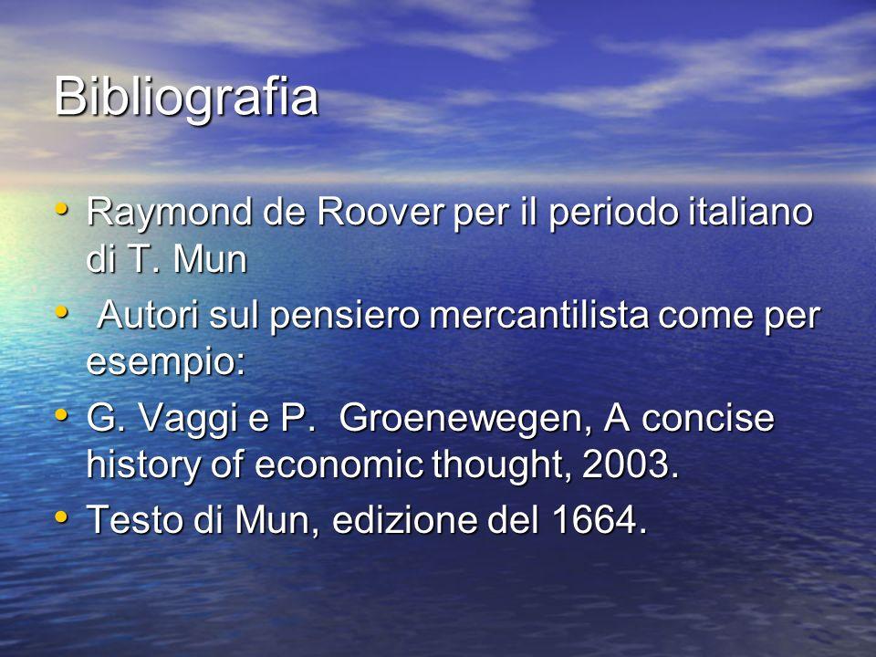 Bibliografia Raymond de Roover per il periodo italiano di T.