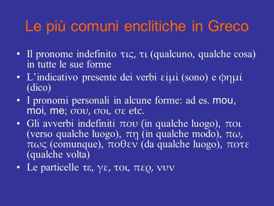 Le più comuni enclitiche in Greco Il pronome indefinito τις, τι (qualcuno, qualche cosa) in tutte le sue forme Lindicativo presente dei verbi εμ (sono