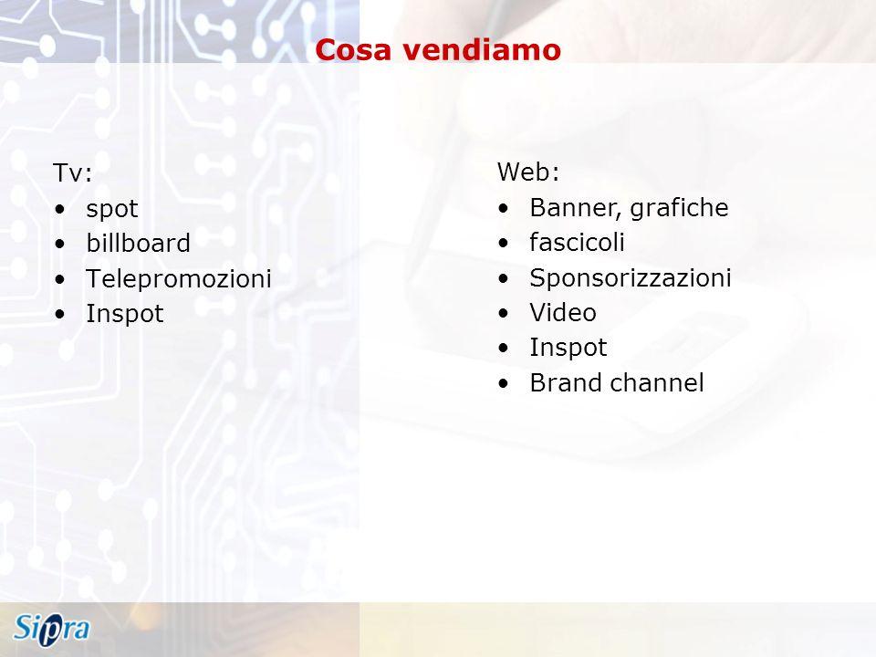 Cosa vendiamo Tv: spot billboard Telepromozioni Inspot Web: Banner, grafiche fascicoli Sponsorizzazioni Video Inspot Brand channel