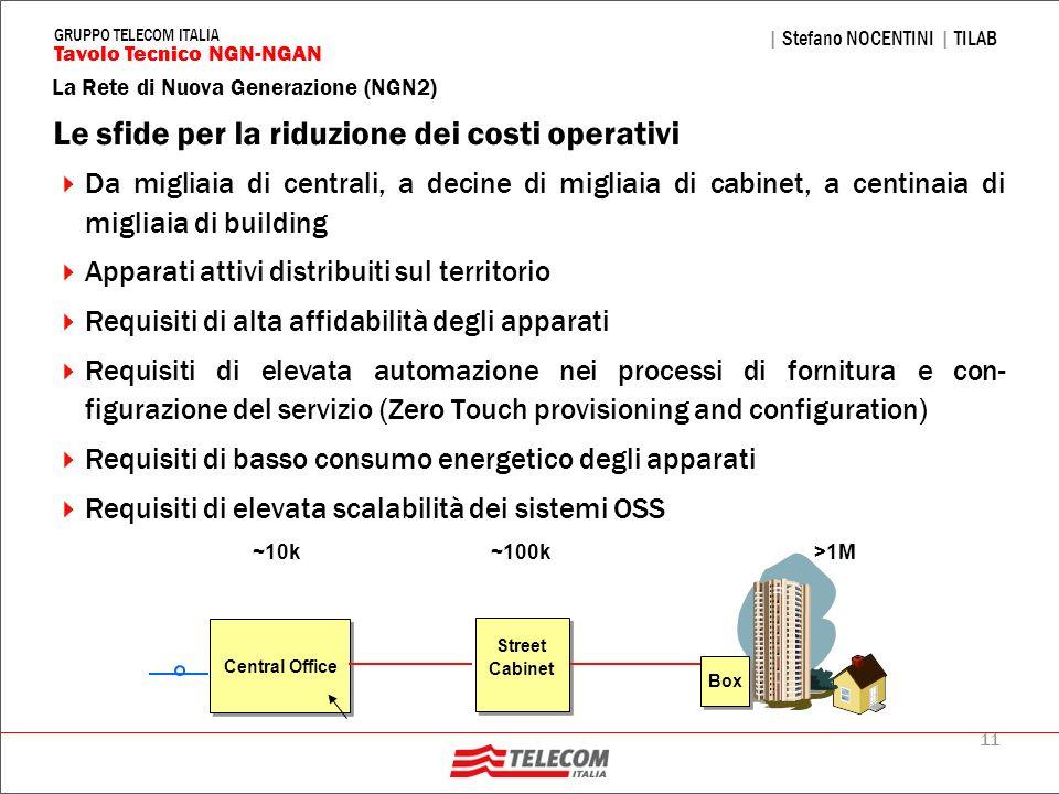 11 La Rete di Nuova Generazione (NGN2) | Stefano NOCENTINI | TILAB Tavolo Tecnico NGN-NGAN GRUPPO TELECOM ITALIA Le sfide per la riduzione dei costi o