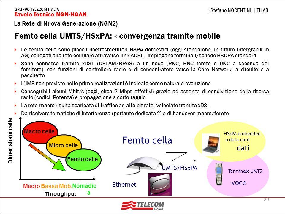 20 La Rete di Nuova Generazione (NGN2) | Stefano NOCENTINI | TILAB Tavolo Tecnico NGN-NGAN GRUPPO TELECOM ITALIA Femto cella UMTS/HSxPA: « convergenza