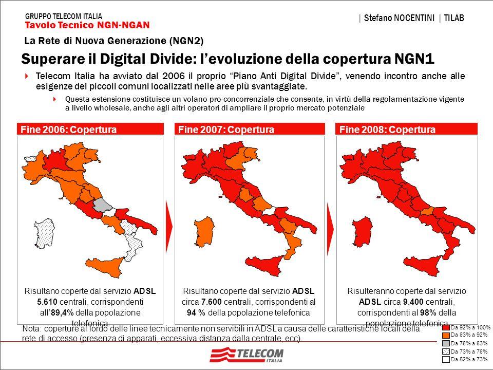 23 La Rete di Nuova Generazione (NGN2) | Stefano NOCENTINI | TILAB Tavolo Tecnico NGN-NGAN GRUPPO TELECOM ITALIA Nota: coperture al lordo delle linee