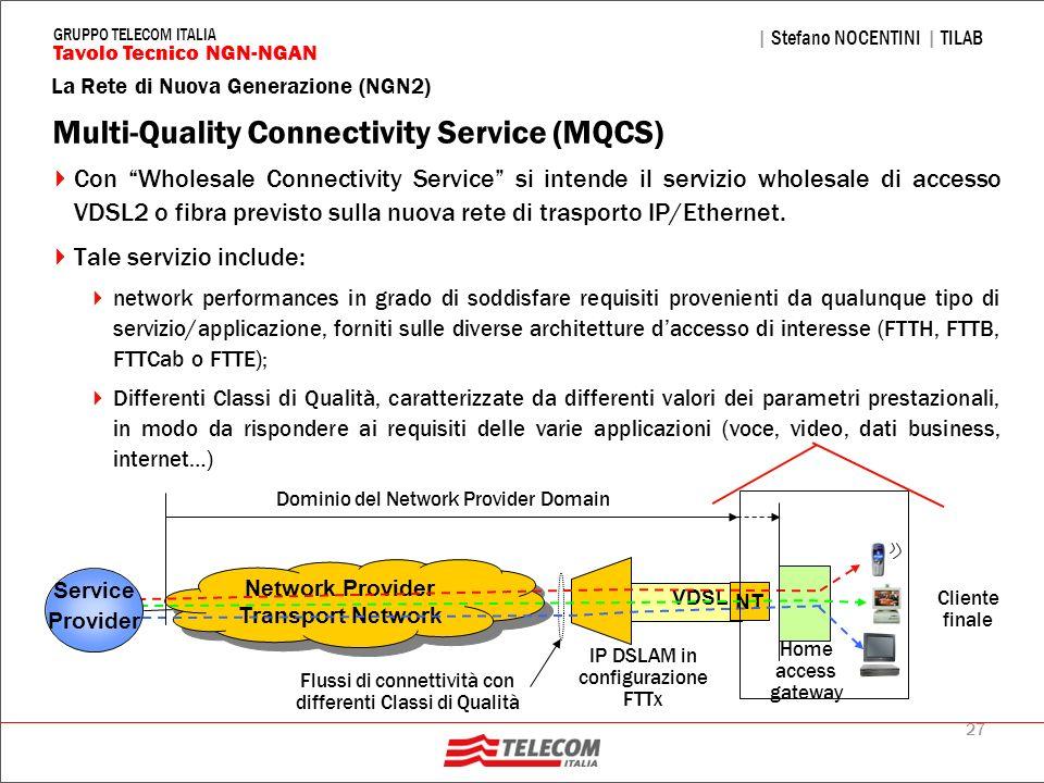 27 La Rete di Nuova Generazione (NGN2) | Stefano NOCENTINI | TILAB Tavolo Tecnico NGN-NGAN GRUPPO TELECOM ITALIA Multi-Quality Connectivity Service (M